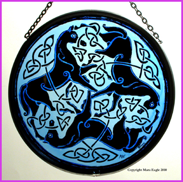 Black Pictish Horses with Blue background