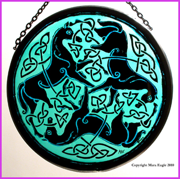 Black Pictish Horses with Green background