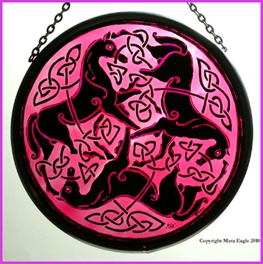 Black Pictish Horses with Pink background