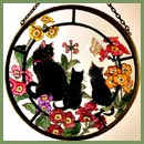 "Black Cats & Auriculas -  6"" Roundel"