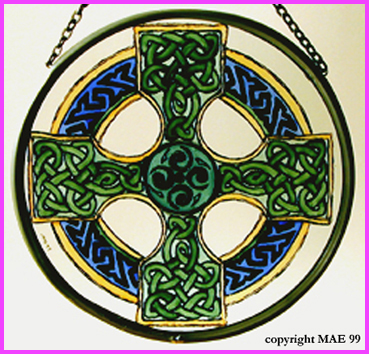 Celtic Cross - Pale Green and Blue
