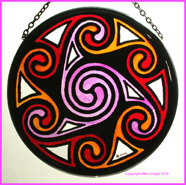 Celtic Swirls - Mauve and Red