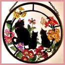 "Black Cats and Auriculas - 6"" Roundel"