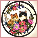 "Kittens and Roses - 6"" Roundel"