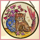 "Kitten with Blue Jar - 6"" Roundel"