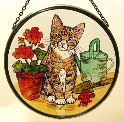 "Kitten and Geraniums - 6"" Roundel"