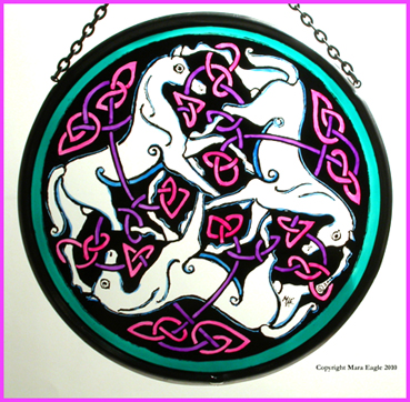 Pictish Horses - White horses with Pink Triskeles