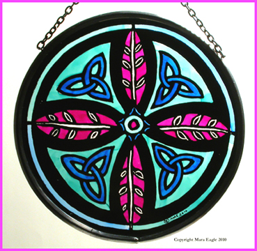 Triskeles and Leaf Cross - Turquoise